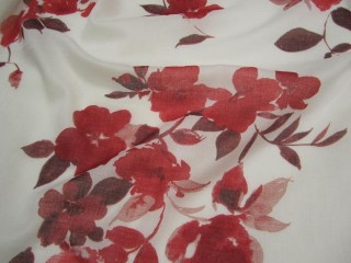 Bawełna etamina biała w czerwone kwiaty
