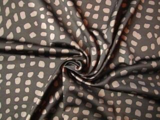 Dzianina czekolada taupe drobny print lata 60-te
