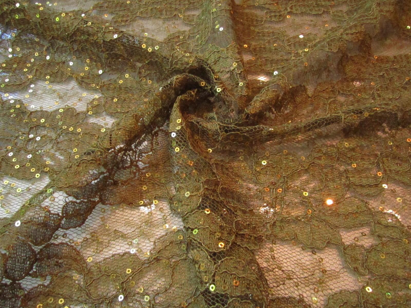 Koronka francuska premium z cekinami złoto oliwka