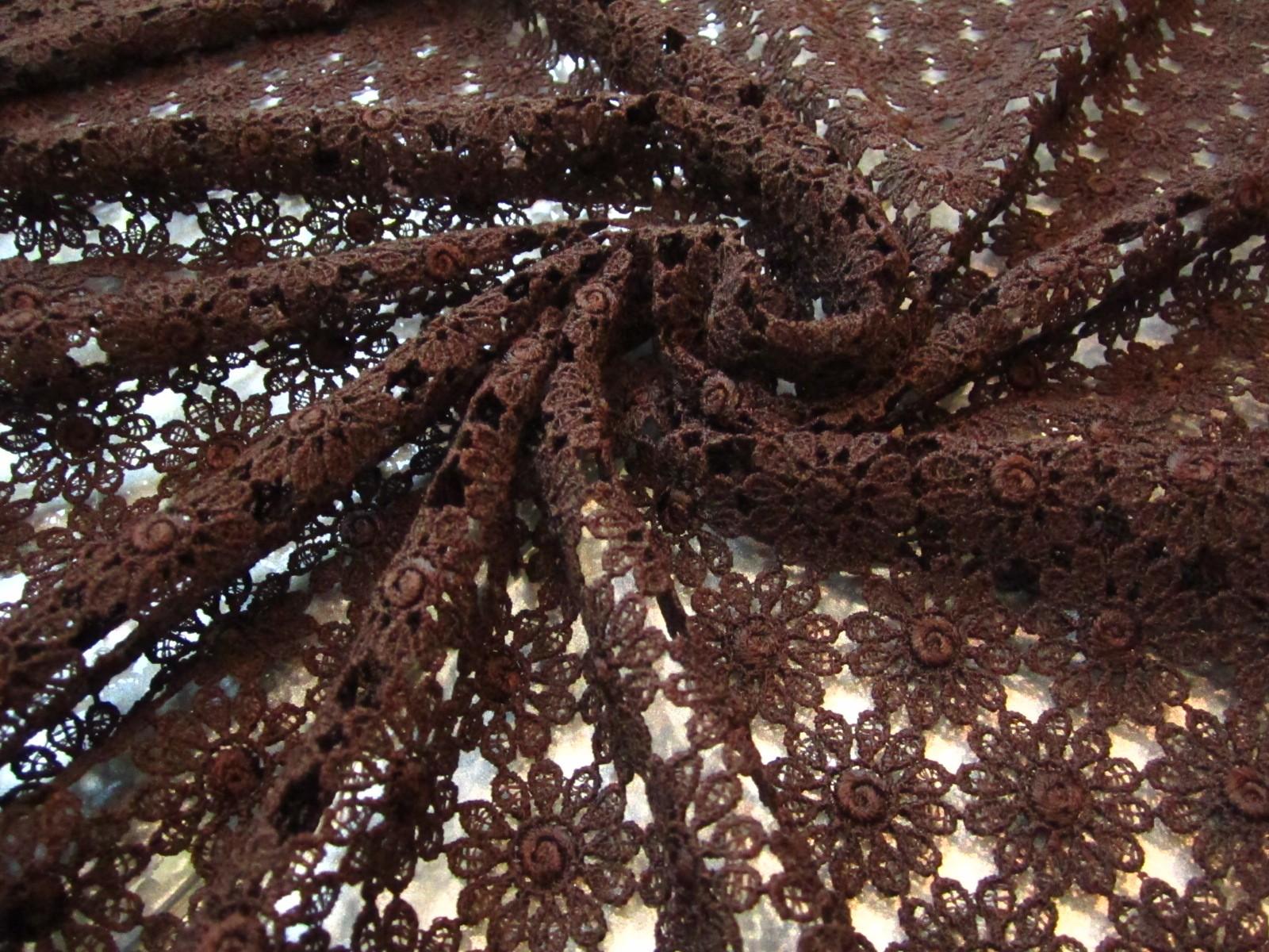 Gipiura bawełniana czekoladowy brąz kwiaty