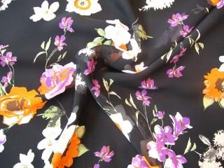 Wiskoza czerń fiolet ecru malowane kwiaty