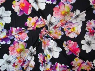 Dzianina malowane tęczowe kwiaty czarne tło