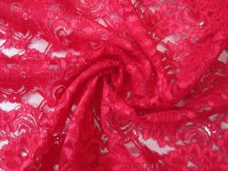 Koronka wieczorowa róże czerwień makowa