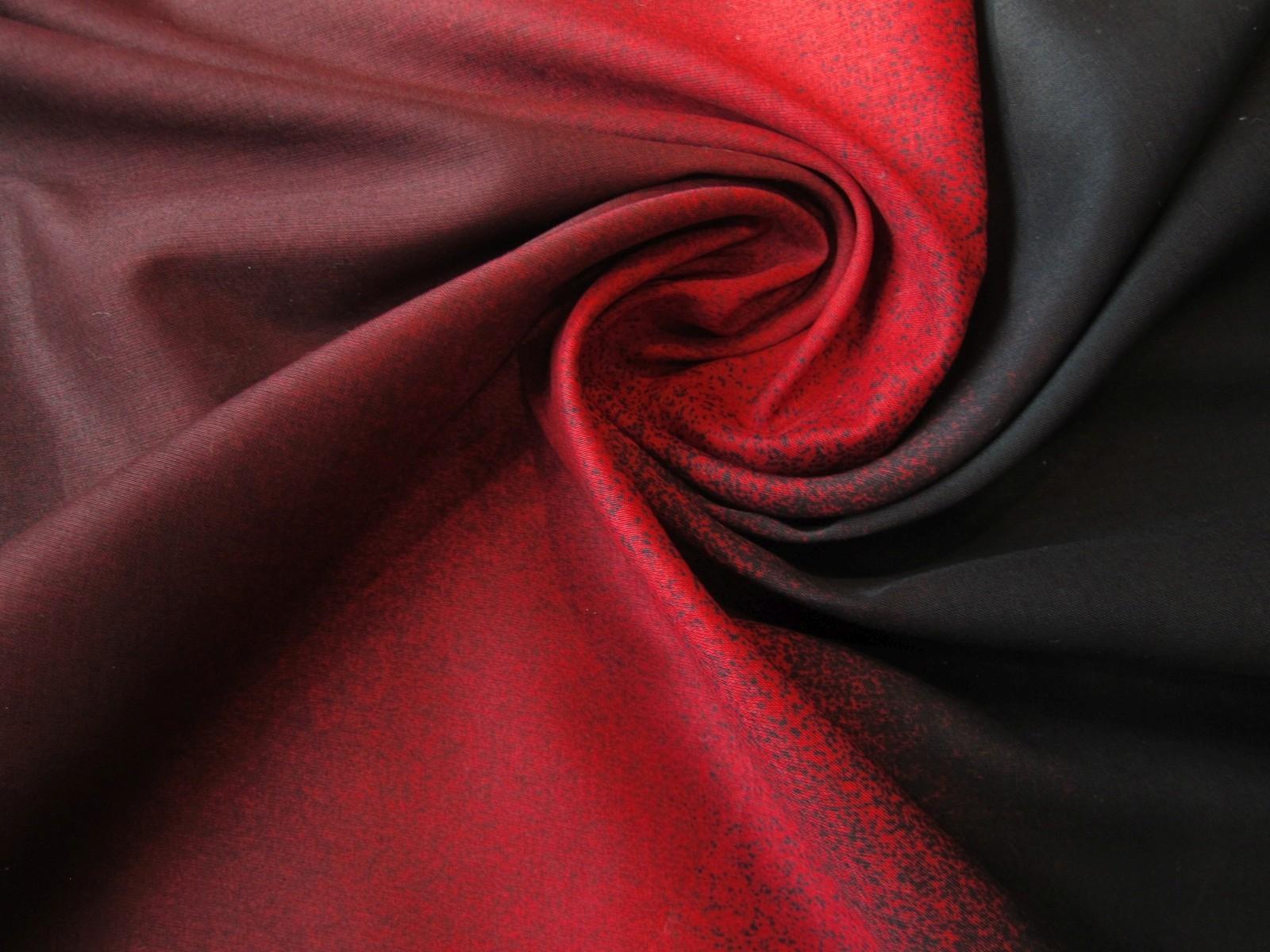 Bawełna etamina cieniowana gradient czerwień czerń