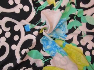 Jedwab gruba krepa premium cytrynowo-lazurowe kwiaty