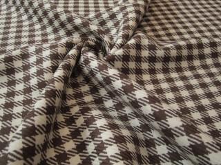 Wełna z jedwabiem ecru brąz kratka lana vergine