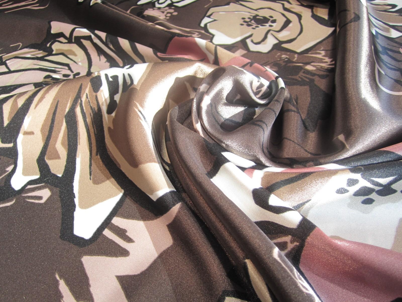 Satyna wiskozowa z lycrą czekolada pastel róż peonie