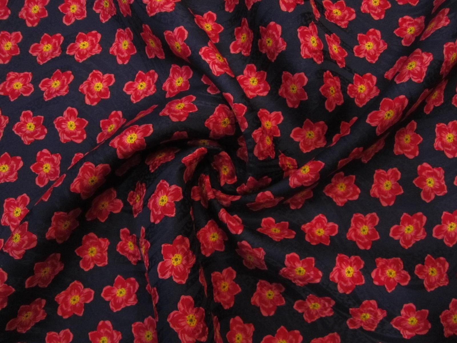Jedwab  krepa żakardowa retro malinowo-granatowe kwiatuszki KUPON