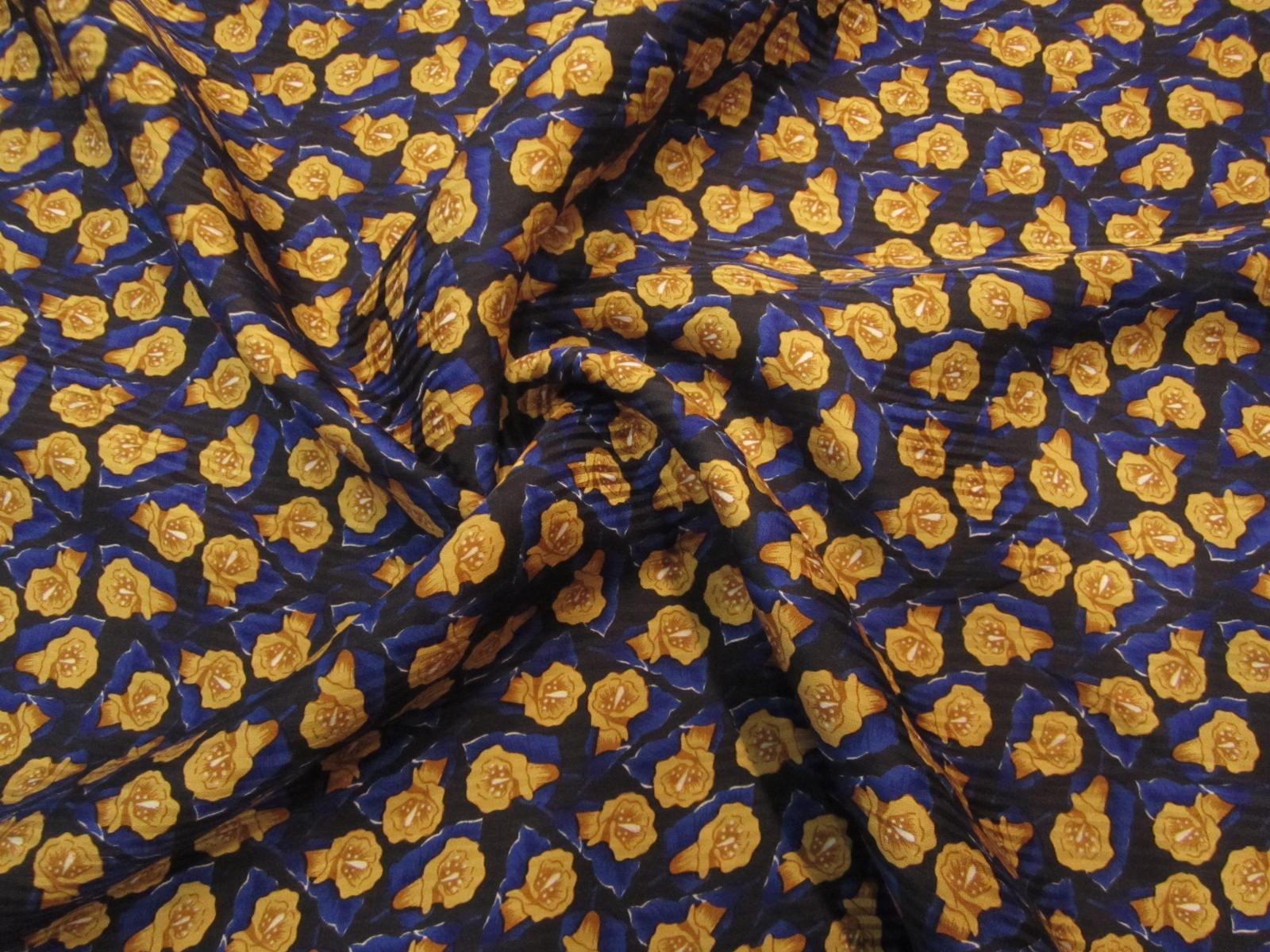 Jedwab  krepa żakardowa retro granatowo-miodowe kwiatuszki KUPON