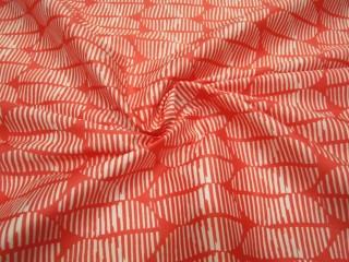 Bawełna premium z lycrą mandarynkowo-biały drobny wzór