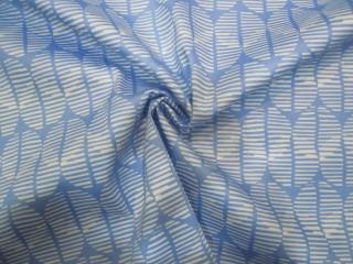 Bawełna premium z lycrą błękitno-biały drobny wzór