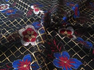 Koronka premium wieczorowa czerń indygo złoto rubin kwiaty