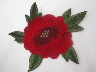 Róża premium malinowo czerwień złoto haft termo