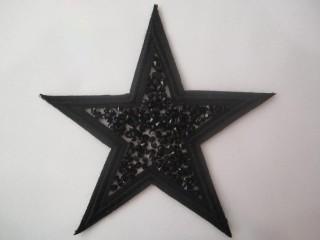 Gwiazda czarna haft Swarovski termo duża