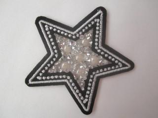 Gwiazda czerń biel haft Swarovski perły termo duża