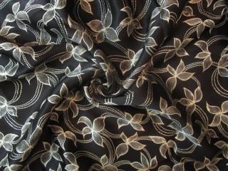 Jedwab gruba krepa satynowana czerń ecrukwiaty