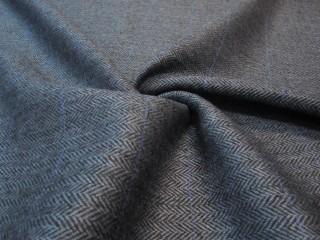 Wełna tweed jodełka z kaszmirem granat lazur