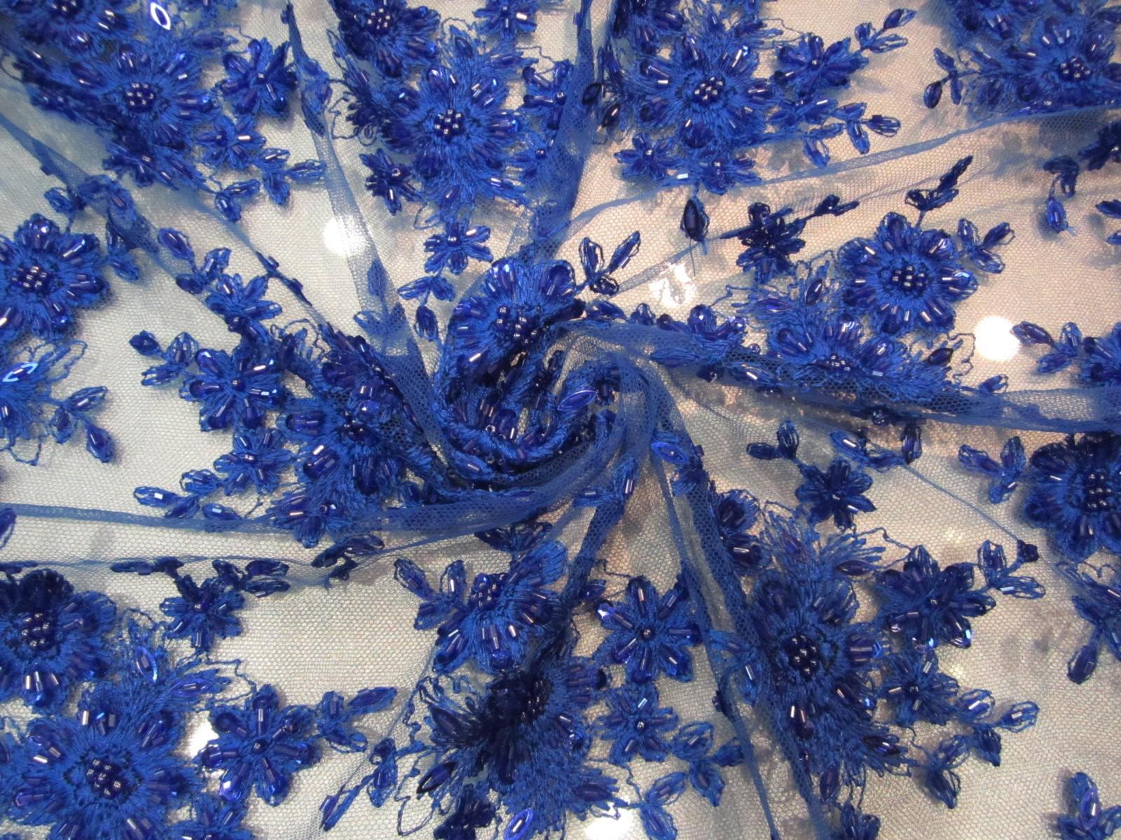 Koronka wieczorowa Alta moda niebieski indygo