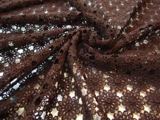 Gipiura bawełniana czekoladowy brąz margaretki KUPON