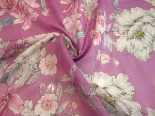 Bawełna z jedwabiem pastelowy wrzos delikatne kwiaty