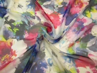 Jedwab szyfon malowane kolorowe kwiaty