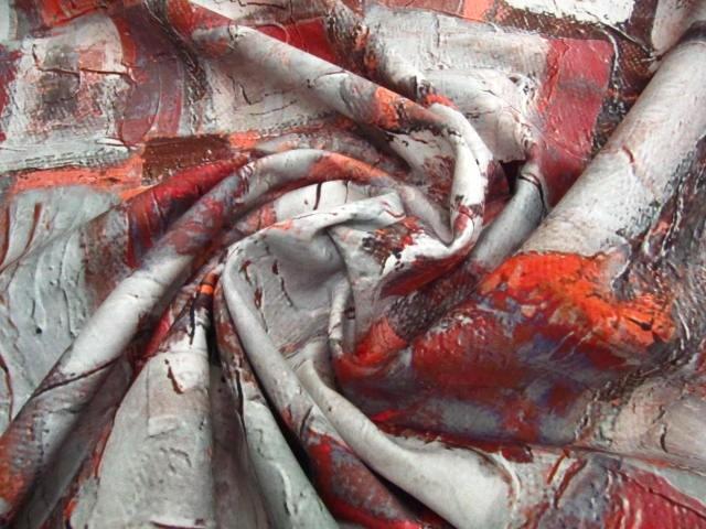 Bawełna z lycrą czerwono-pomarańczowy print