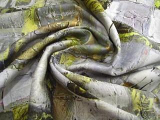 Bawełna z lycrą stalowo-limonkowy print