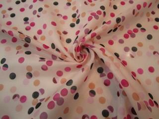 Bawełna etamina pastelowy róż groszki lata 60-te