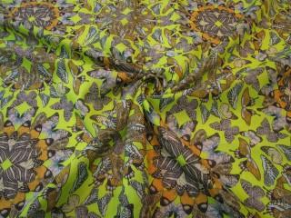 Bawełna etamina limonkowo popielate motyle
