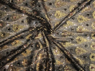 Luksusowe cekiny wieczorowe art deco złoto srebro miedź