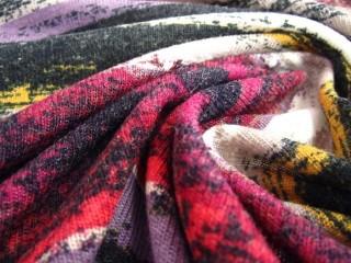 Dzianina wełniana ciepła malinowo-fioletowa KUPON