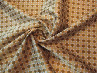 Jedwab  satyna retro oliwkowo-beżowy wzór drobny KUPON