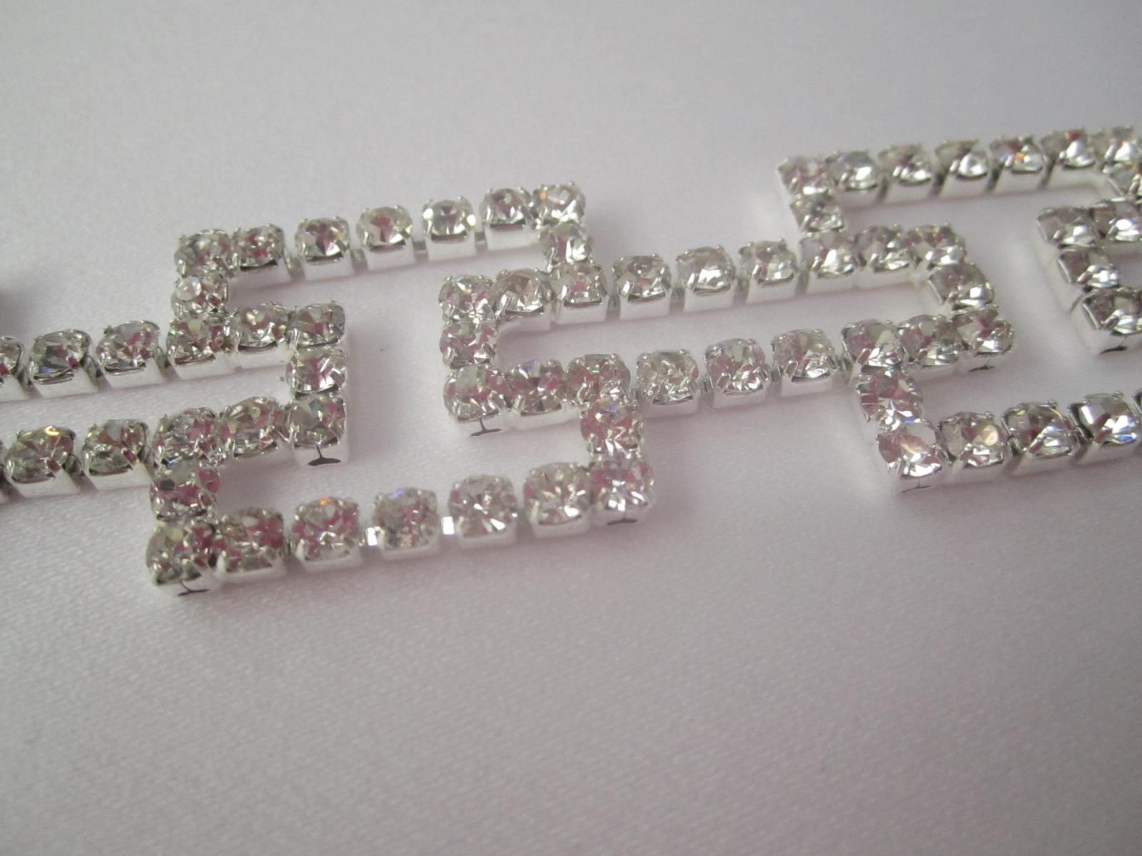 Rewelacyjny Taśma kryształowa ozdobna srebro Swarovski - Binassi SQ14