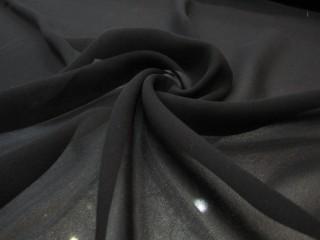 Jedwab żorżeta z lycrą głęboka czerń