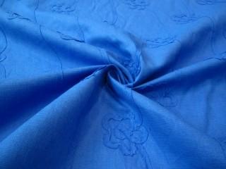 Len naturalny uszlachetniony wzór kwiatowy niebieski lazur