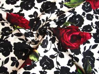 Żakard matelasse róże karminowe firmowy KUPON