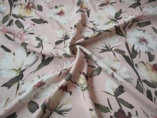 Gruba wiskoza sukienkowa delikatne różowe kwiaty
