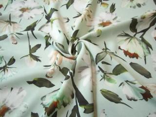 Gruba wiskoza sukienkowa delikatne miętowe kwiaty