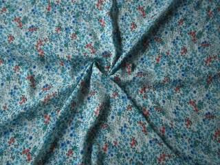 Jedwabista wiskoza sukienkowa niebieska łąka