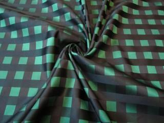 Tafta z jedwabiem szmaragd czerń krateczka