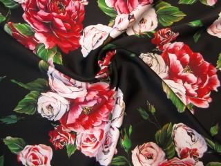 Jedwab gruby premium delikatne czerwone róże czerń