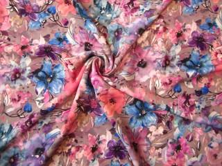 Jedwabista wiskoza sukienkowa kwiatowa łąka pudrowy róż