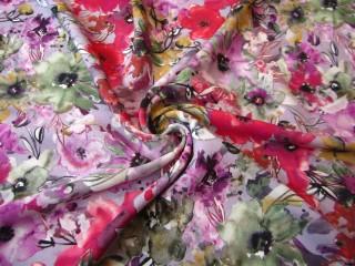 Jedwabista wiskoza sukienkowa kwiatowa łąka malina