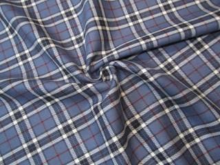 Wełna premium krata spokojny niebieski ecru lana vergine