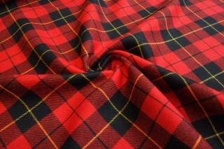 Wełna premium kratka czerwień czerń lana vergine