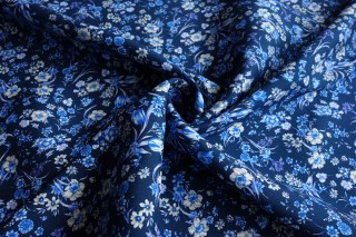 Jedwab kostiumowy gruba krepa granat kwiatowa łąka