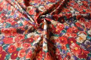 Jedwab kostiumowy gruba krepa czerwień zieleń bordaux
