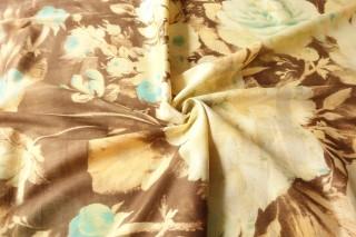 Bawełna z jedwabiem beż taupe pastelowy turkus