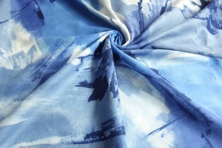 Bawełna etamina cieniowana indygo szafir błękit