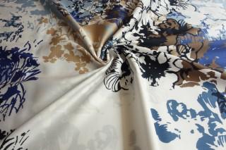 Bawełna etamina malowane kwiaty błękit biel